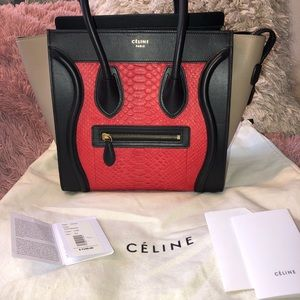 CELINE PYTHON RED MINI LUGGAGE W/ TAGS WORN ONCE